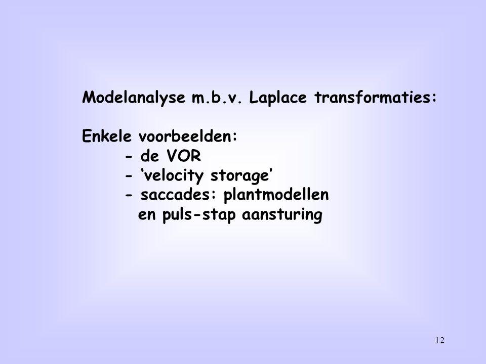 12 Modelanalyse m.b.v. Laplace transformaties: Enkele voorbeelden: - de VOR - 'velocity storage' - saccades: plantmodellen en puls-stap aansturing