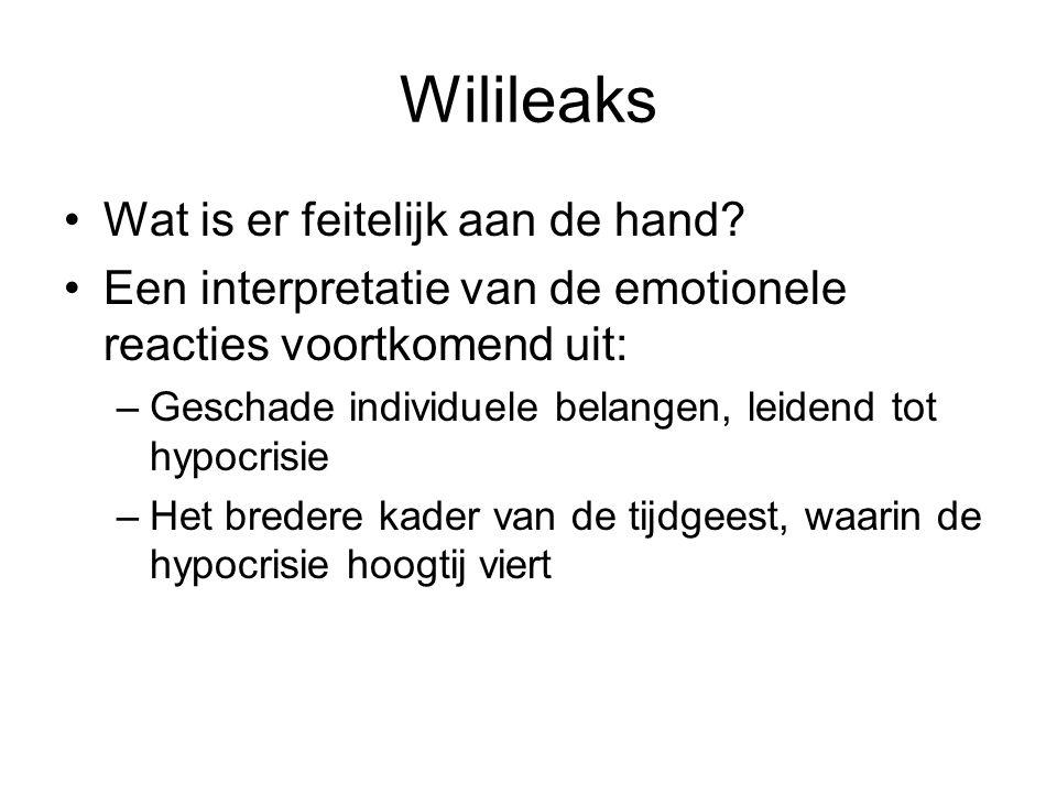 Wilileaks Wat is er feitelijk aan de hand? Een interpretatie van de emotionele reacties voortkomend uit: –Geschade individuele belangen, leidend tot h