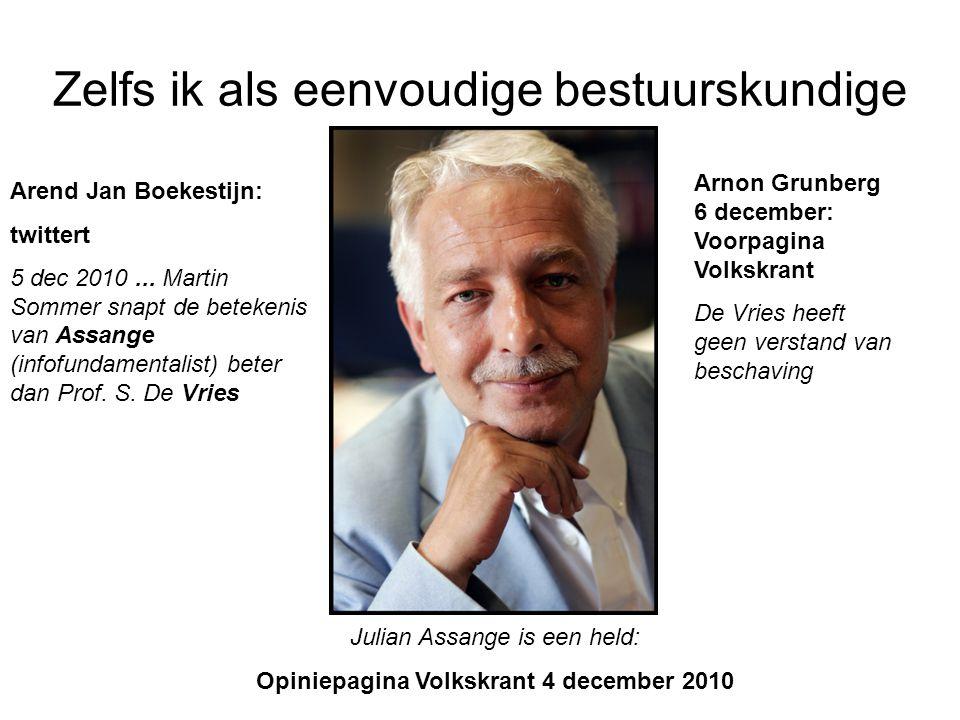 Zelfs ik als eenvoudige bestuurskundige Julian Assange is een held: Opiniepagina Volkskrant 4 december 2010 Arend Jan Boekestijn: twittert 5 dec 2010.