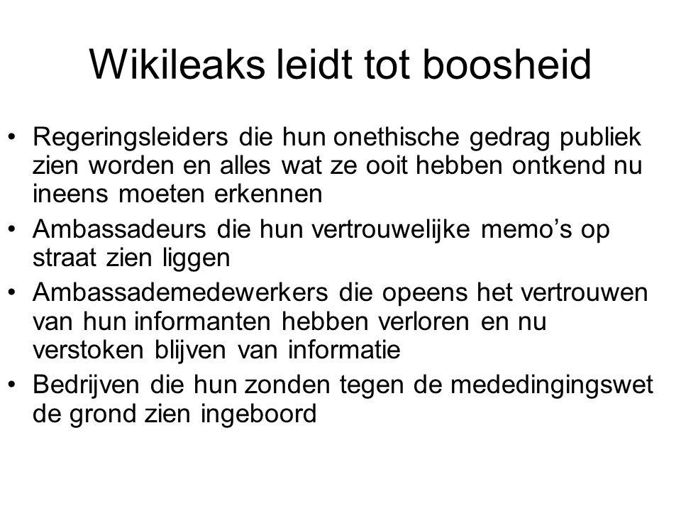Wikileaks leidt tot boosheid Regeringsleiders die hun onethische gedrag publiek zien worden en alles wat ze ooit hebben ontkend nu ineens moeten erken