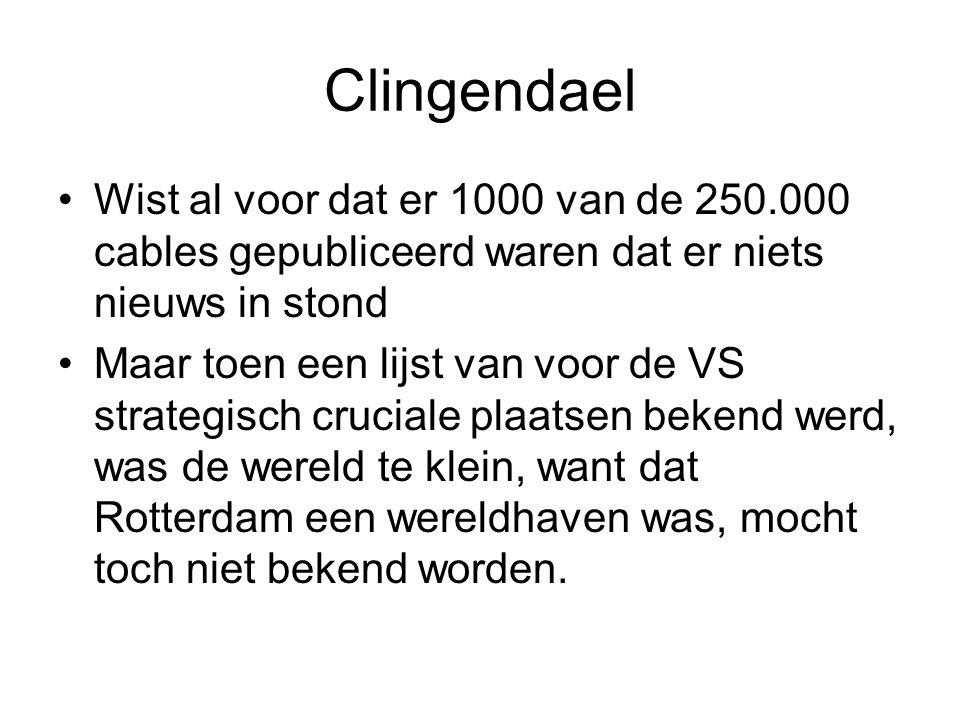Clingendael Wist al voor dat er 1000 van de 250.000 cables gepubliceerd waren dat er niets nieuws in stond Maar toen een lijst van voor de VS strategisch cruciale plaatsen bekend werd, was de wereld te klein, want dat Rotterdam een wereldhaven was, mocht toch niet bekend worden.