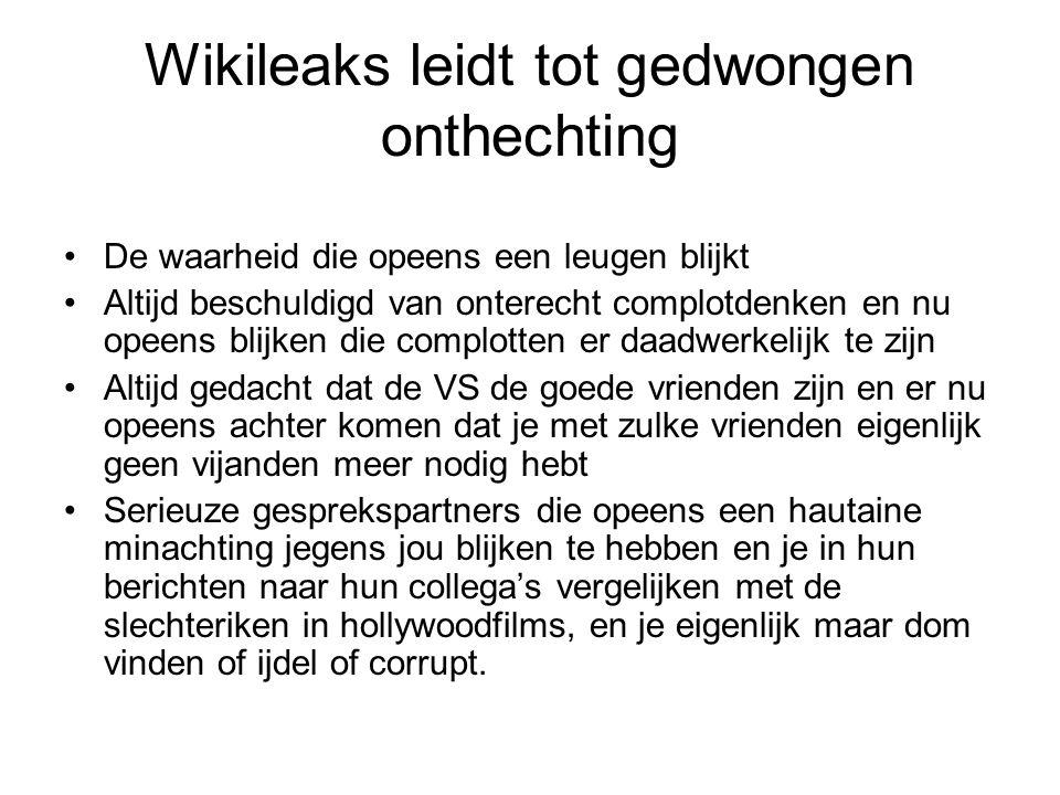 Wikileaks leidt tot gedwongen onthechting De waarheid die opeens een leugen blijkt Altijd beschuldigd van onterecht complotdenken en nu opeens blijken