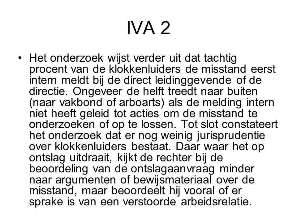 IVA 2 Het onderzoek wijst verder uit dat tachtig procent van de klokkenluiders de misstand eerst intern meldt bij de direct leidinggevende of de direc