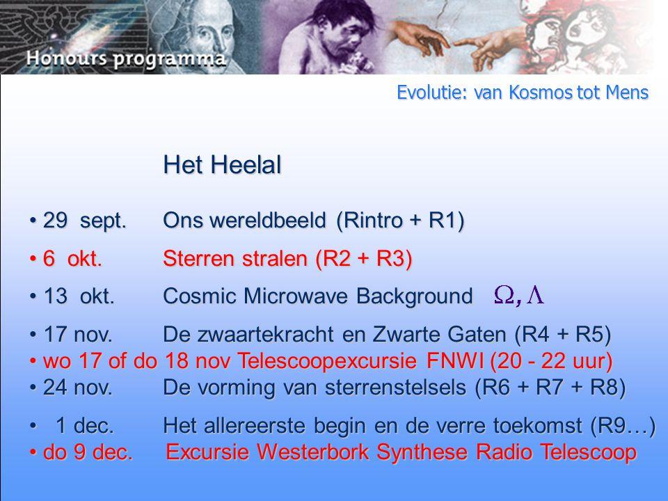 Evolutie: van Kosmos tot Mens Het Heelal 29 sept.Ons wereldbeeld (Rintro + R1) 29 sept.Ons wereldbeeld (Rintro + R1) 6 okt.Sterren stralen (R2 + R3) 6