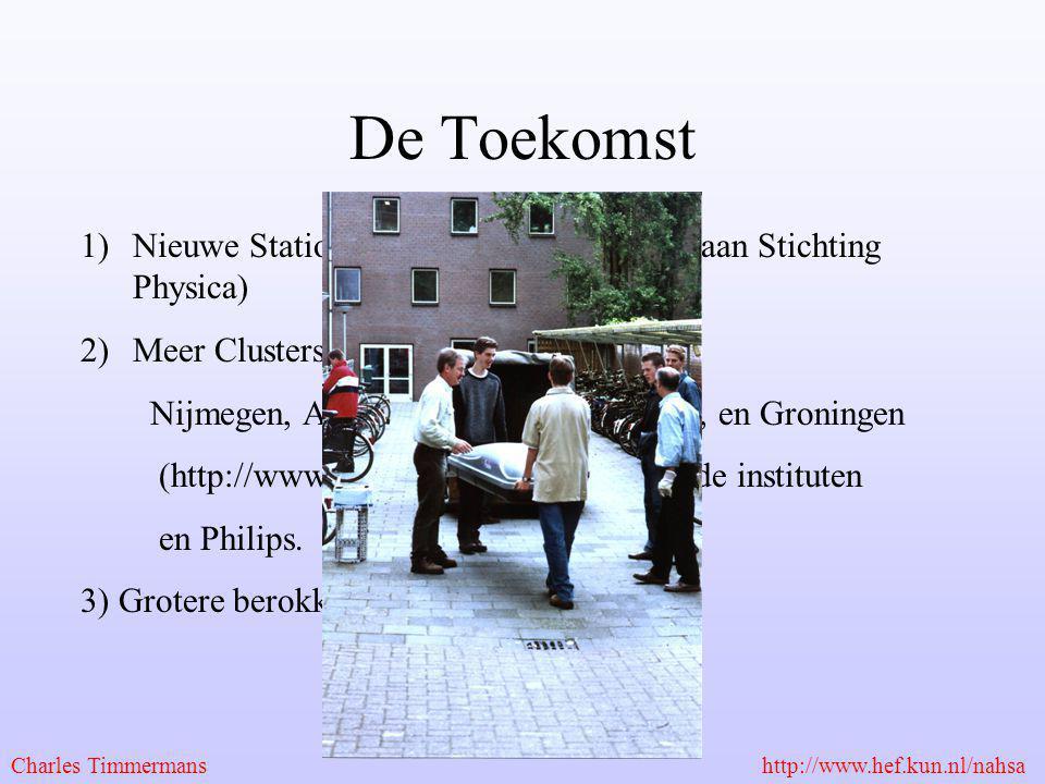 De Toekomst 1)Nieuwe Stations in Nijmegen (met dank aan Stichting Physica) 2)Meer Clusters in Nederland: HISPARC Nijmegen, Amsterdam, Utrecht, Leiden,
