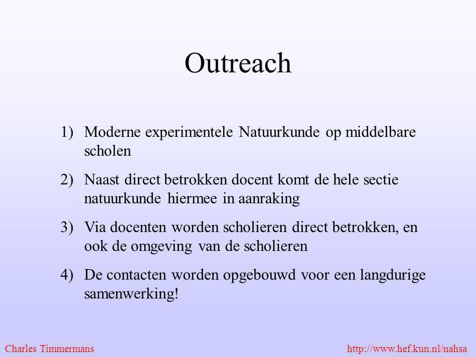 Outreach 1)Moderne experimentele Natuurkunde op middelbare scholen 2)Naast direct betrokken docent komt de hele sectie natuurkunde hiermee in aanrakin