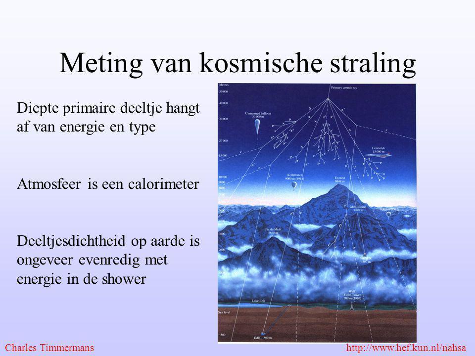 Meting van kosmische straling Diepte primaire deeltje hangt af van energie en type Atmosfeer is een calorimeter Deeltjesdichtheid op aarde is ongeveer