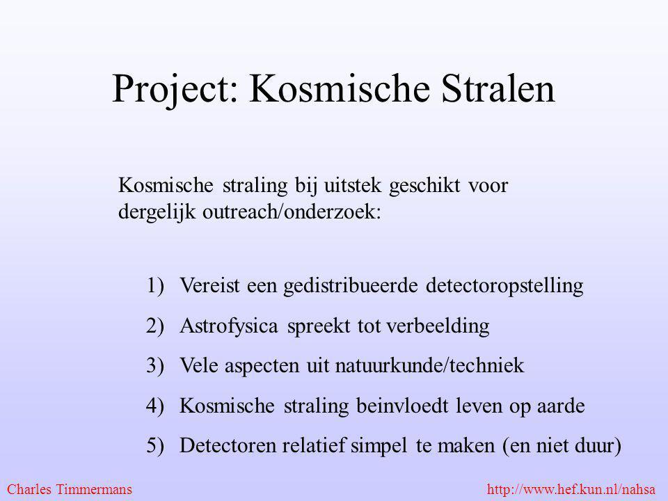 Project: Kosmische Stralen Kosmische straling bij uitstek geschikt voor dergelijk outreach/onderzoek: 1)Vereist een gedistribueerde detectoropstelling