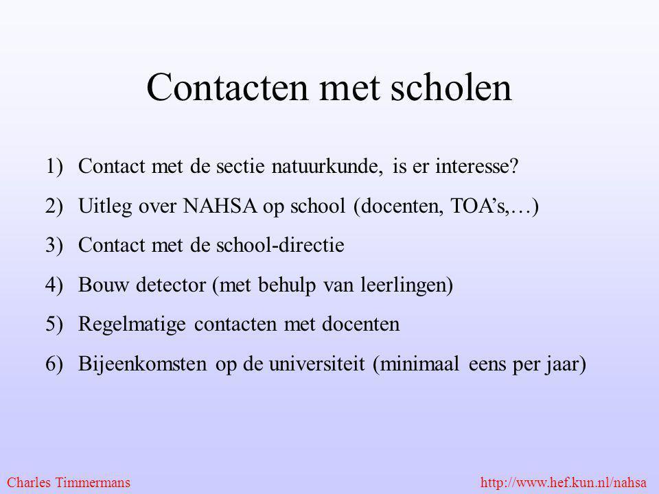Contacten met scholen 1)Contact met de sectie natuurkunde, is er interesse? 2)Uitleg over NAHSA op school (docenten, TOA's,…) 3)Contact met de school-