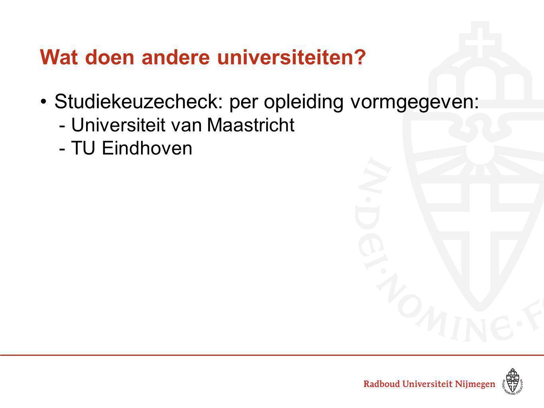 Wat doen andere universiteiten? Studiekeuzecheck: per opleiding vormgegeven:  Universiteit van Maastricht  TU Eindhoven