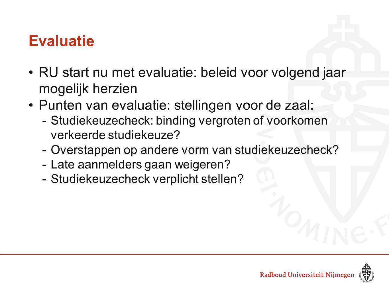 Evaluatie RU start nu met evaluatie: beleid voor volgend jaar mogelijk herzien Punten van evaluatie: stellingen voor de zaal: -Studiekeuzecheck: bindi