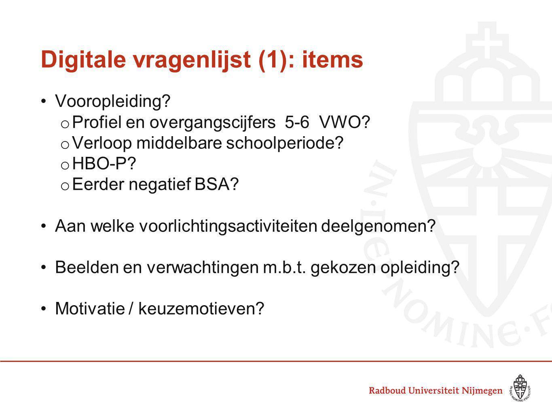 Digitale vragenlijst (1): items Vooropleiding? o Profiel en overgangscijfers 5-6 VWO? o Verloop middelbare schoolperiode? o HBO-P? o Eerder negatief B