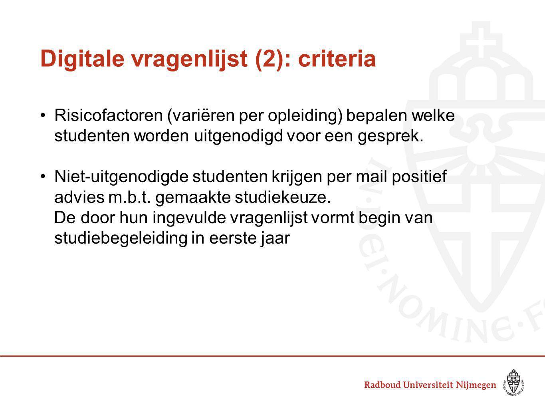 Digitale vragenlijst (2): criteria Risicofactoren (variëren per opleiding) bepalen welke studenten worden uitgenodigd voor een gesprek. Niet-uitgenodi