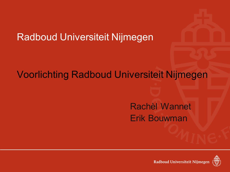 Programma van de dag 09.45 -10.00 uur: ontvangst op de RU, E2.05; inloop met koffie 10.00 -10.30 uur: decanenkringvergadering 10.30 -13.00 uur: RU verzorgt programma 10.30 -11.00 uur: kennismaking met Rachèl Wannet, coördinator vwo-contacten.