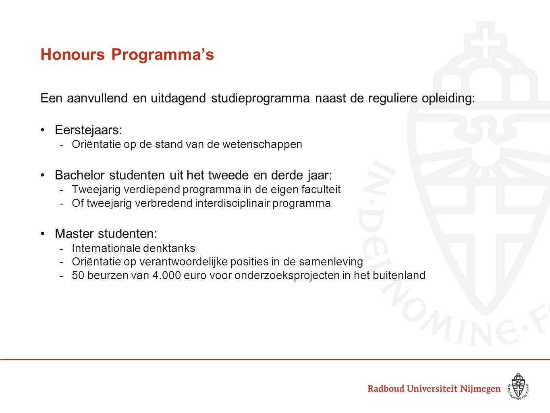 Honours Programma's Een aanvullend en uitdagend studieprogramma naast de reguliere opleiding: Eerstejaars: -Oriëntatie op de stand van de wetenschappe
