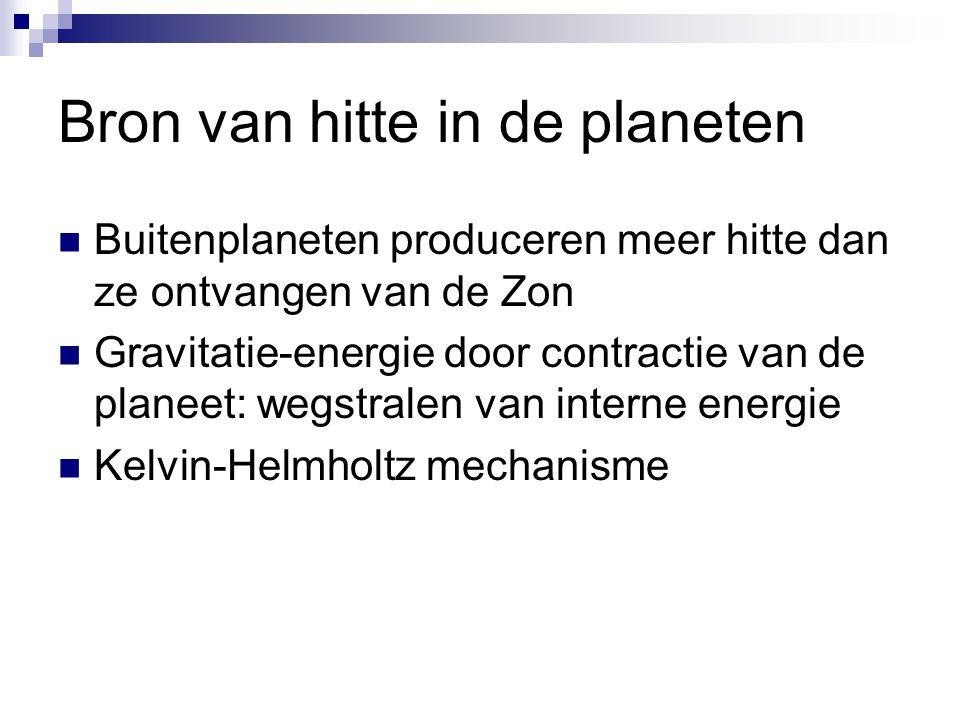 Bron van hitte in de planeten Buitenplaneten produceren meer hitte dan ze ontvangen van de Zon Gravitatie-energie door contractie van de planeet: wegstralen van interne energie Kelvin-Helmholtz mechanisme