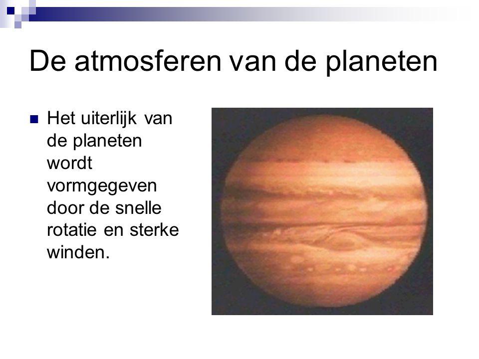 De atmosferen van de planeten Het uiterlijk van de planeten wordt vormgegeven door de snelle rotatie en sterke winden.
