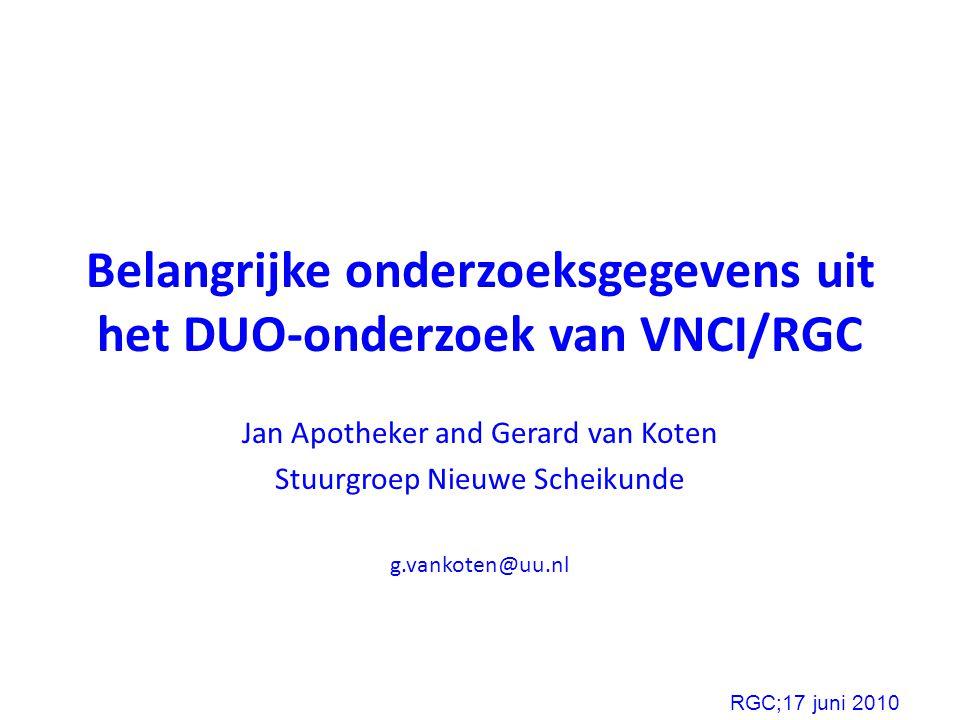 Belangrijke onderzoeksgegevens uit het DUO-onderzoek van VNCI/RGC Jan Apotheker and Gerard van Koten Stuurgroep Nieuwe Scheikunde g.vankoten@uu.nl RGC;17 juni 2010
