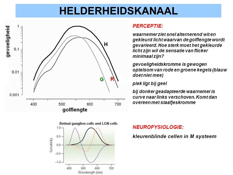 HELDERHEIDSKANAAL NEUROFYSIOLOGIE: kleurenblinde cellen in M systeem PERCEPTIE: waarnemer ziet snel alternerend wit en gekleurd licht waarvan de golfl