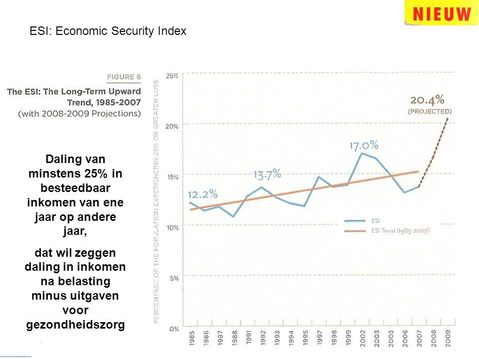 ESI: Economic Security Index Daling van minstens 25% in besteedbaar inkomen van ene jaar op andere jaar, dat wil zeggen daling in inkomen na belasting