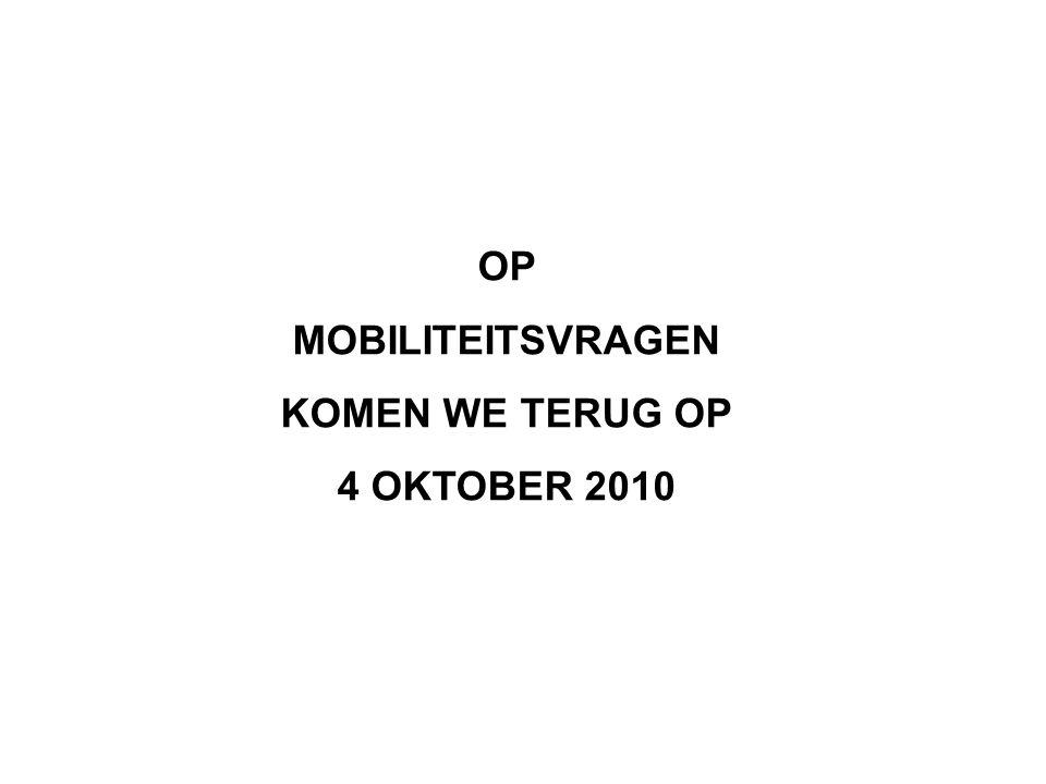 OP MOBILITEITSVRAGEN KOMEN WE TERUG OP 4 OKTOBER 2010