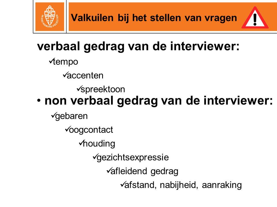 Valkuilen bij het stellen van vragen verbaal gedrag van de interviewer: tempo accenten spreektoon non verbaal gedrag van de interviewer: gebaren oogco
