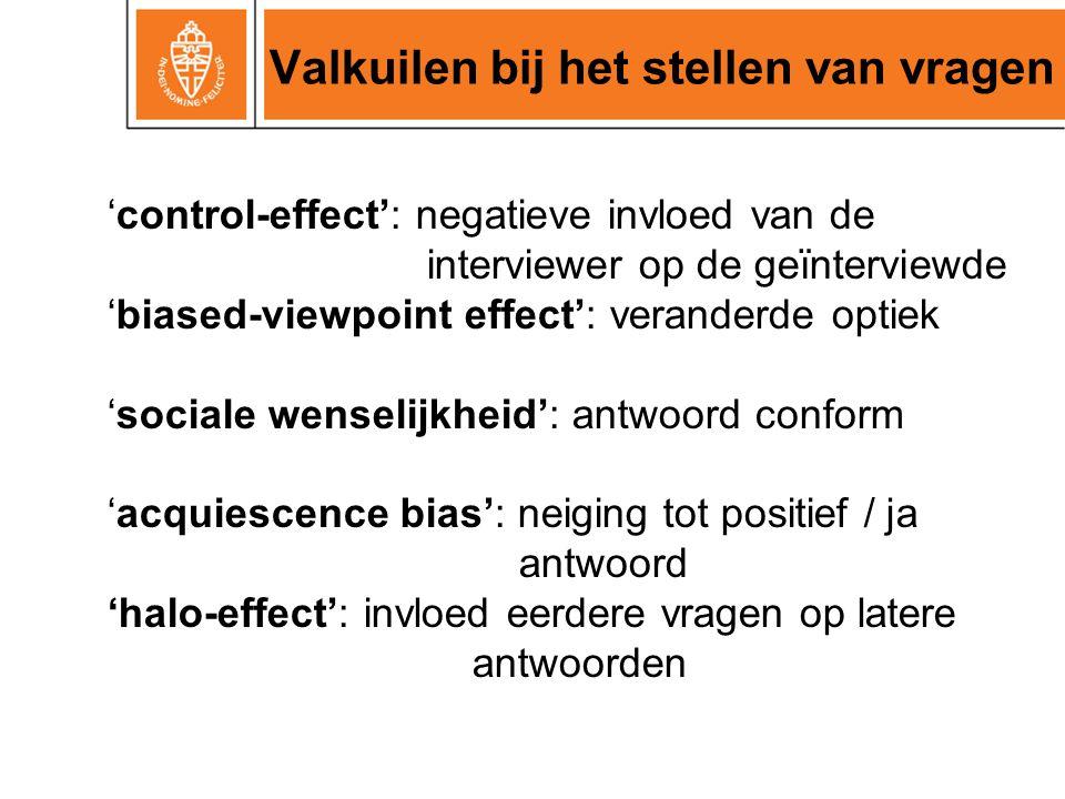 Valkuilen bij het stellen van vragen 'control-effect': negatieve invloed van de interviewer op de geïnterviewde 'biased-viewpoint effect': veranderde