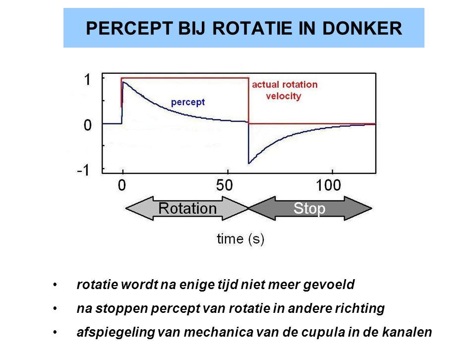 PERCEPT BIJ ROTATIE IN DONKER rotatie wordt na enige tijd niet meer gevoeld na stoppen percept van rotatie in andere richting afspiegeling van mechani