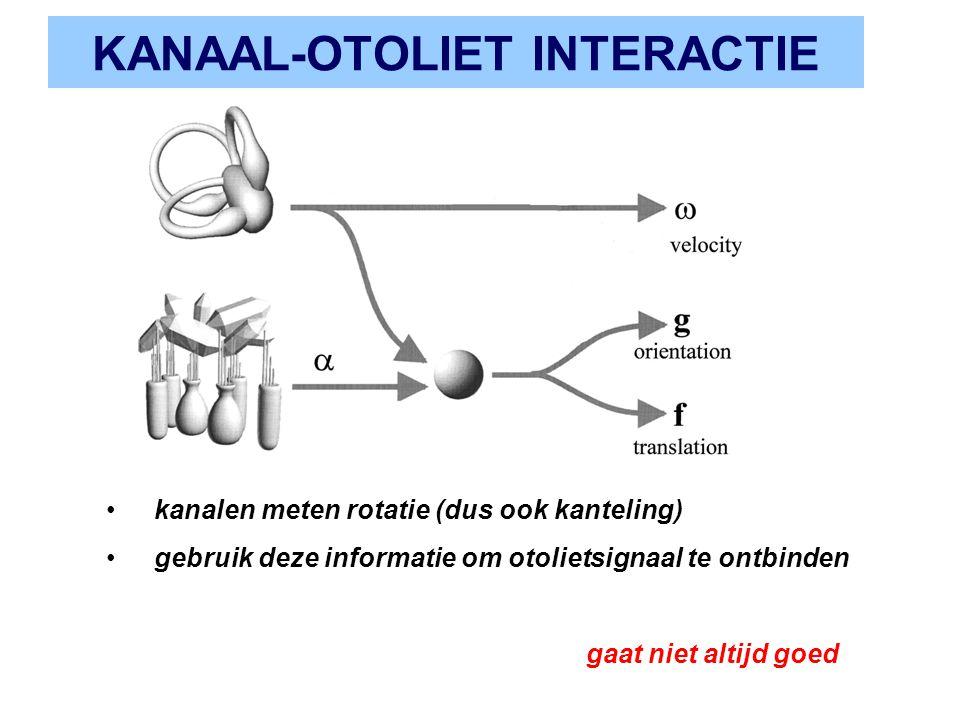 KANAAL-OTOLIET INTERACTIE kanalen meten rotatie (dus ook kanteling) gebruik deze informatie om otolietsignaal te ontbinden gaat niet altijd goed