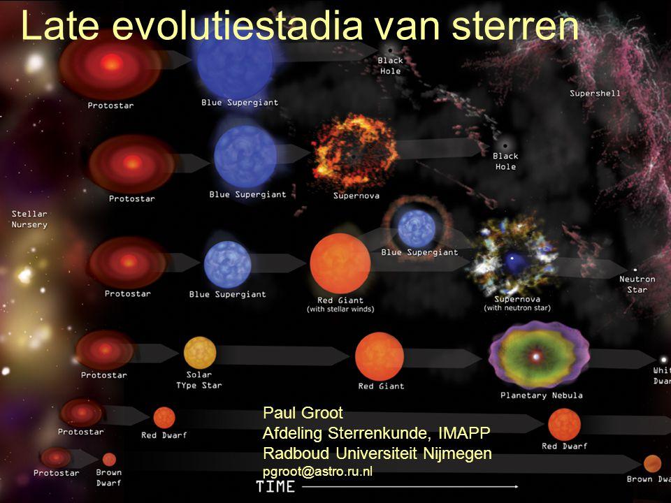 Leven na de hoofdreeks Op de hoofdreeks fuseren sterren waterstof.