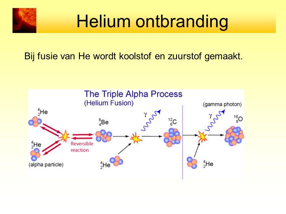 Helium ontbranding Bij fusie van He wordt koolstof en zuurstof gemaakt.