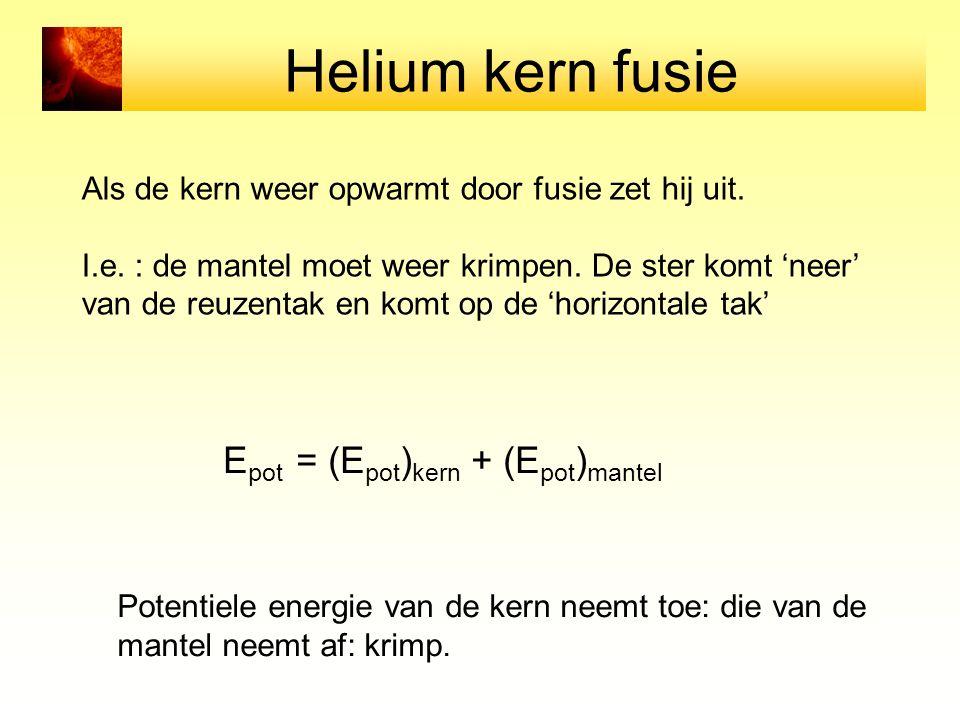 Helium kern fusie Als de kern weer opwarmt door fusie zet hij uit.