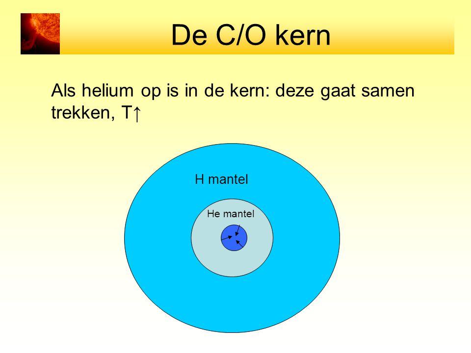 De C/O kern Als helium op is in de kern: deze gaat samen trekken, T↑ H mantel He mantel