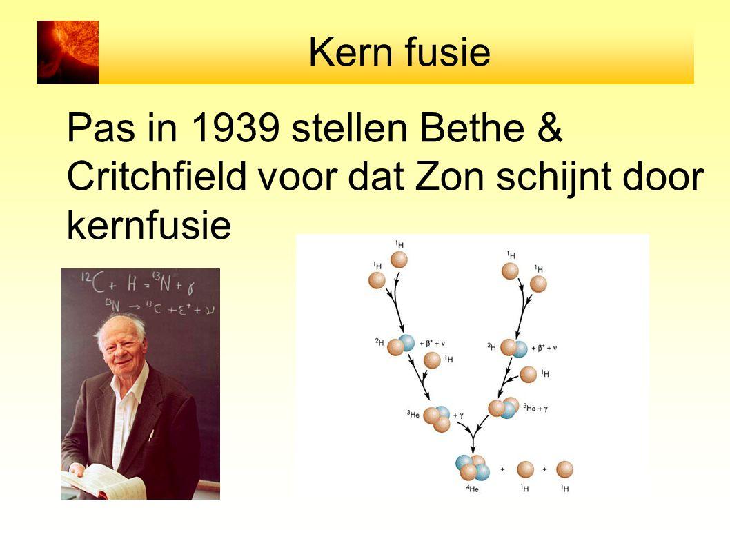 Kern fusie Pas in 1939 stellen Bethe & Critchfield voor dat Zon schijnt door kernfusie