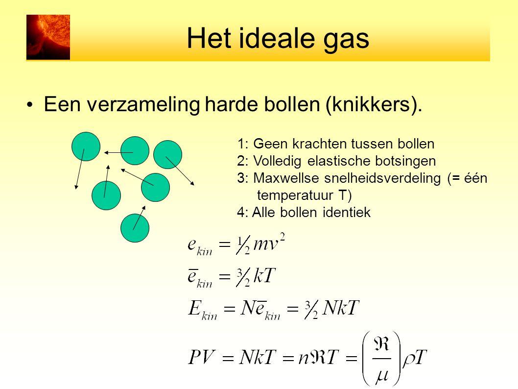 Het ideale gas Een verzameling harde bollen (knikkers). 1: Geen krachten tussen bollen 2: Volledig elastische botsingen 3: Maxwellse snelheidsverdelin