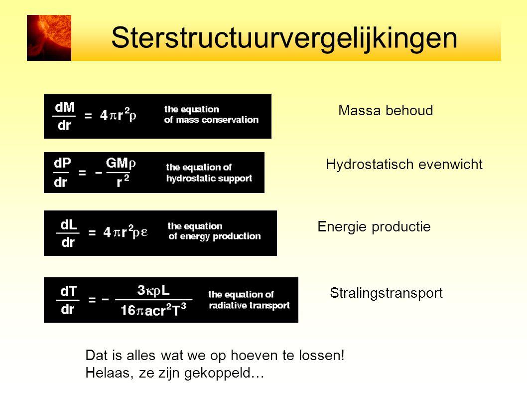 Sterstructuurvergelijkingen Massa behoud Hydrostatisch evenwicht Energie productie Stralingstransport Dat is alles wat we op hoeven te lossen! Helaas,