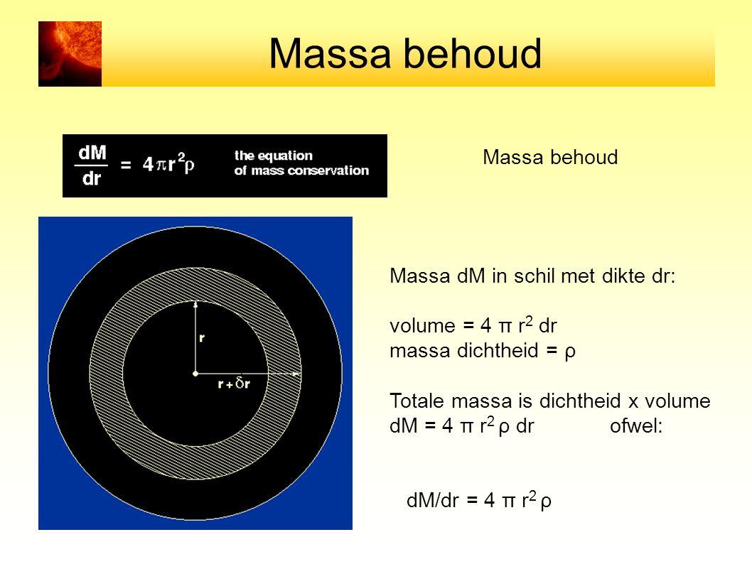 Massa behoud Massa dM in schil met dikte dr: volume = 4 π r 2 dr massa dichtheid = ρ Totale massa is dichtheid x volume dM = 4 π r 2 ρ dr ofwel: dM/dr