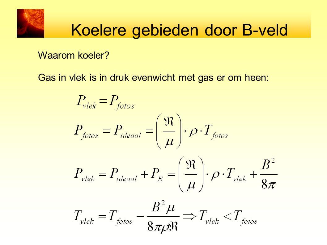 Waarom koeler? Gas in vlek is in druk evenwicht met gas er om heen: