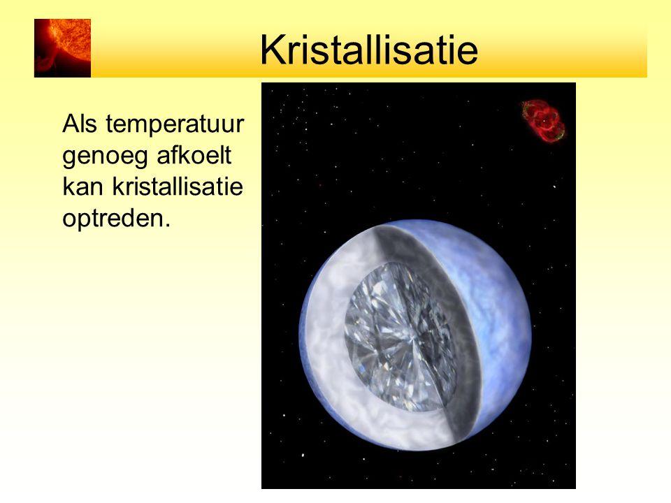 Kristallisatie Als temperatuur genoeg afkoelt kan kristallisatie optreden.