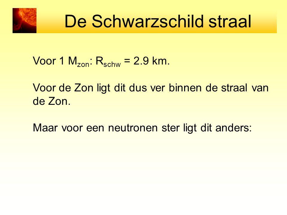 De Schwarzschild straal Voor 1 M zon : R schw = 2.9 km. Voor de Zon ligt dit dus ver binnen de straal van de Zon. Maar voor een neutronen ster ligt di