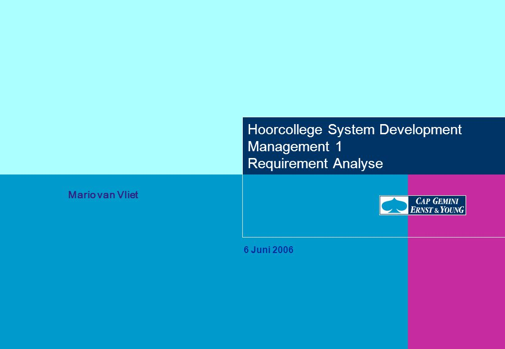 Hoorcollege System Development Management 1 Requirement Analyse 6 Juni 2006 Mario van Vliet