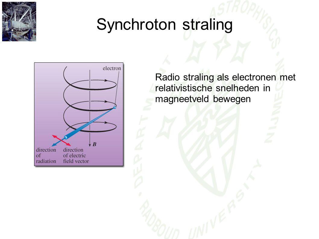 Synchroton straling Radio straling als electronen met relativistische snelheden in magneetveld bewegen