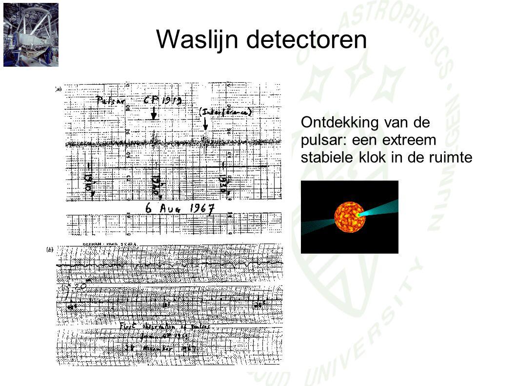 Waslijn detectoren Ontdekking van de pulsar: een extreem stabiele klok in de ruimte