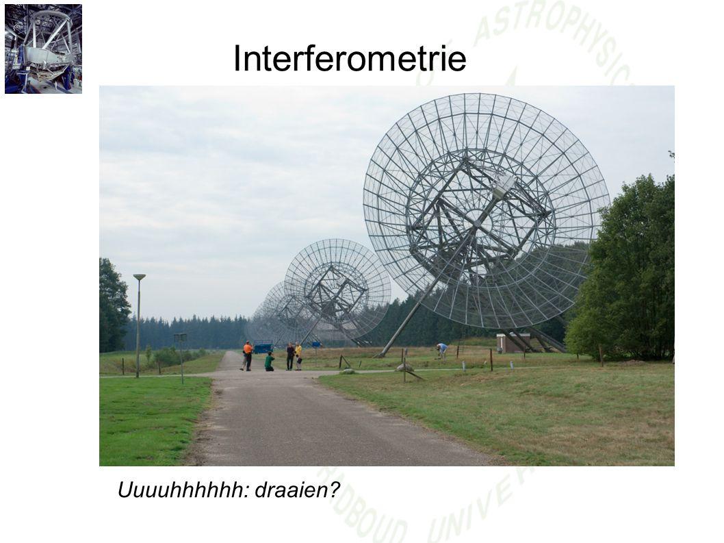 Interferometrie De Aarde helpt! NP 12hr 18hr 0 hr 6hr Na 12 hr meten hebben we alle hoeken gehad!