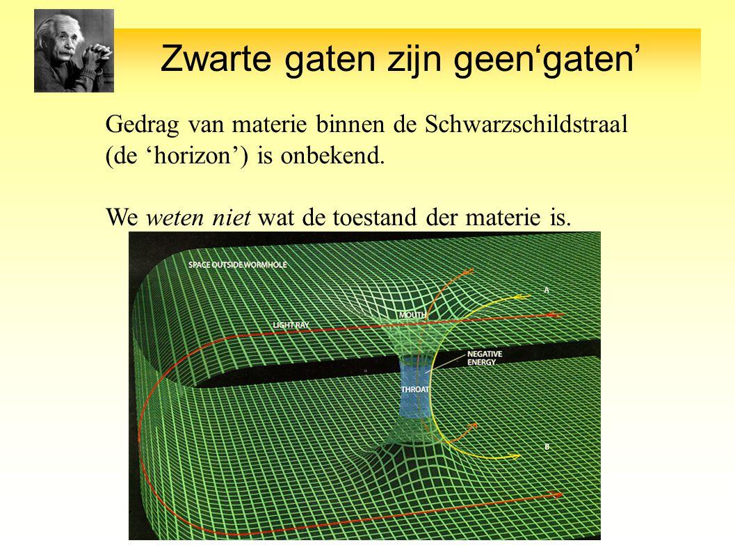 Zwarte gaten zijn geen'gaten' Gedrag van materie binnen de Schwarzschildstraal (de 'horizon') is onbekend.