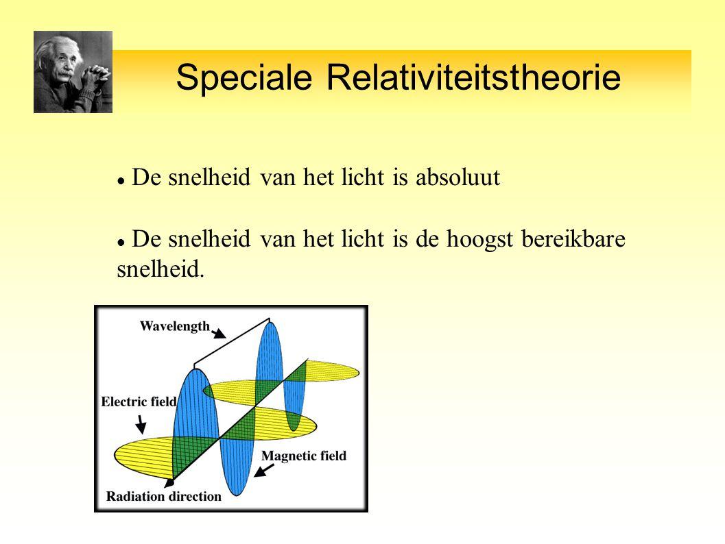 Speciale Relativiteitstheorie De snelheid van het licht is absoluut De snelheid van het licht is de hoogst bereikbare snelheid.
