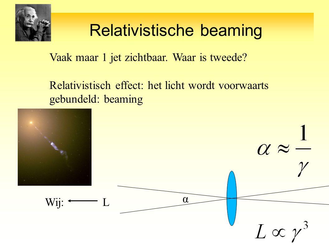 Relativistische beaming Vaak maar 1 jet zichtbaar.