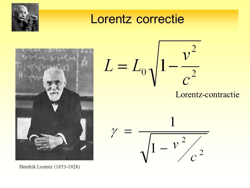Lorentz correctie Lorentz-contractie Lorentz-factor Hendrik Lorentz (1853-1928)
