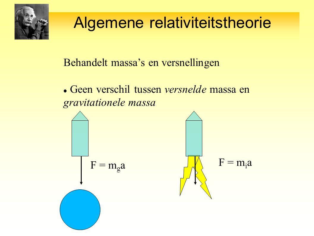 Algemene relativiteitstheorie Behandelt massa's en versnellingen Geen verschil tussen versnelde massa en gravitationele massa F = m g a F = m i a