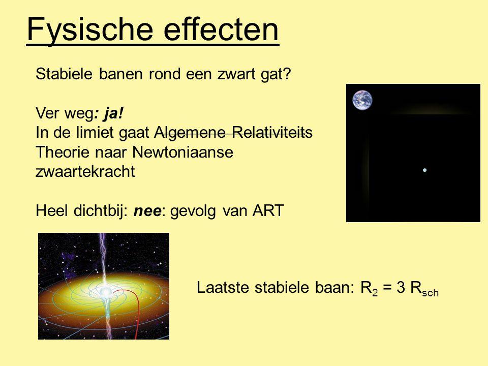 Fysische effecten Stabiele banen rond een zwart gat? Ver weg: ja! In de limiet gaat Algemene Relativiteits Theorie naar Newtoniaanse zwaartekracht Hee